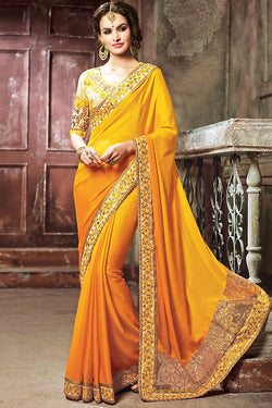 Indi Fashion Mustard Yellow and Beige Moss Crush Embroidered Saree