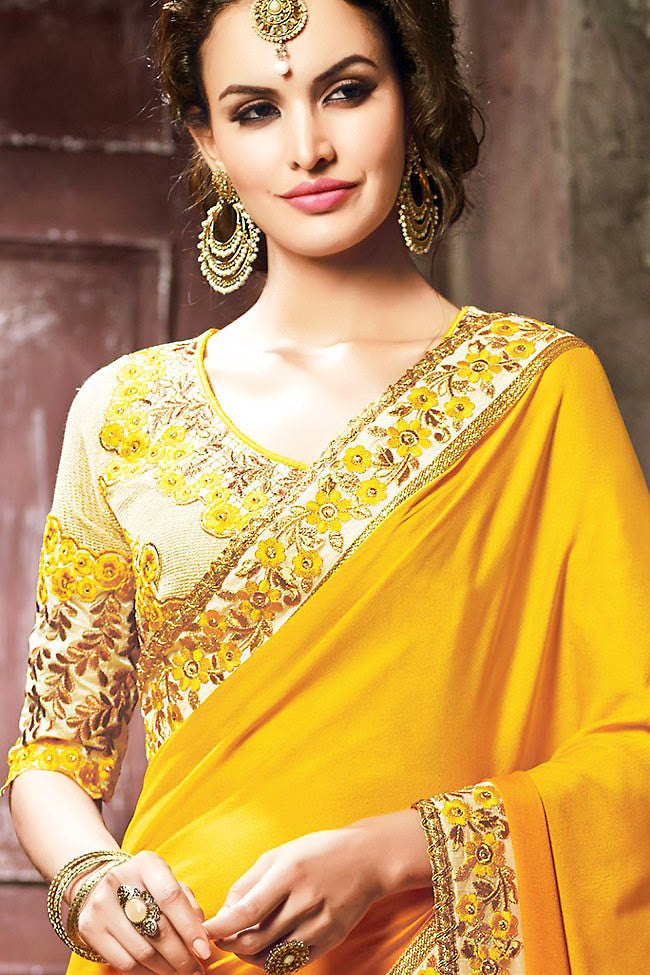 Mustard Yellow and Beige Moss Crush Embroidered Saree