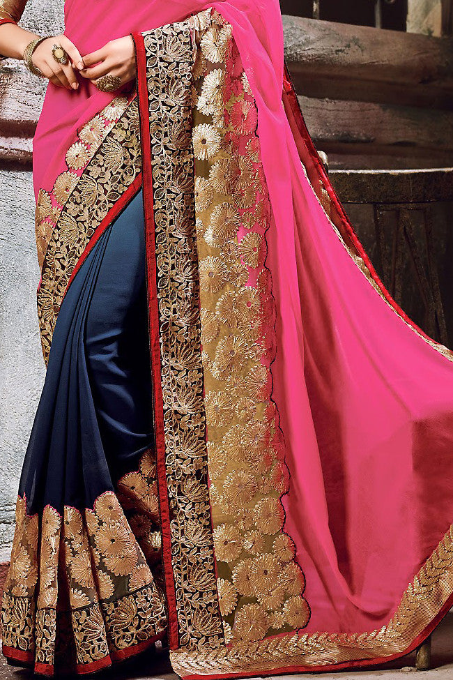 Pink Blue and Beige Chiffon Embroidered Saree