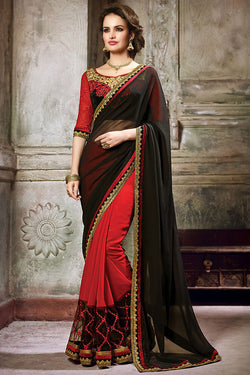 Indi Fashion Red and Black Georgette Embroidered Saree