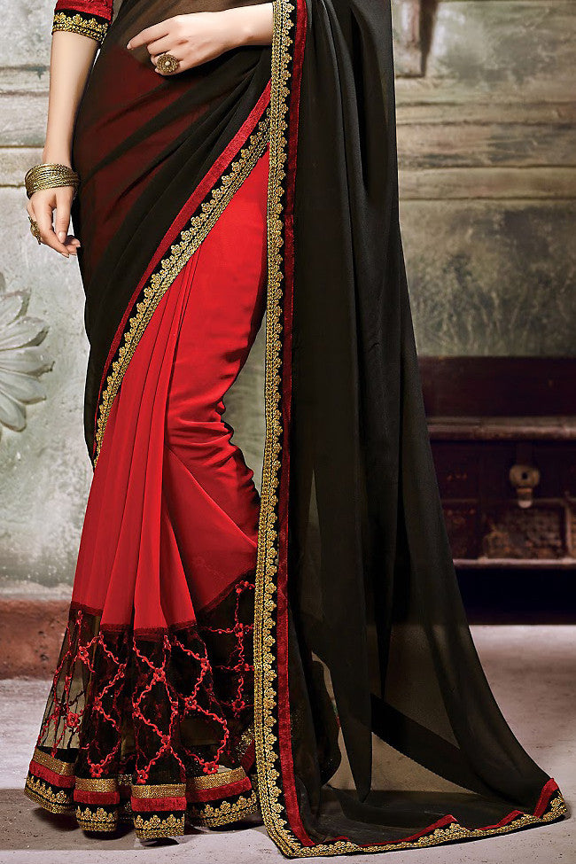 Red and Black Georgette Embroidered Saree