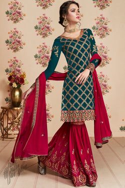 Green and Red Georgette Party Wear Sharara Suit