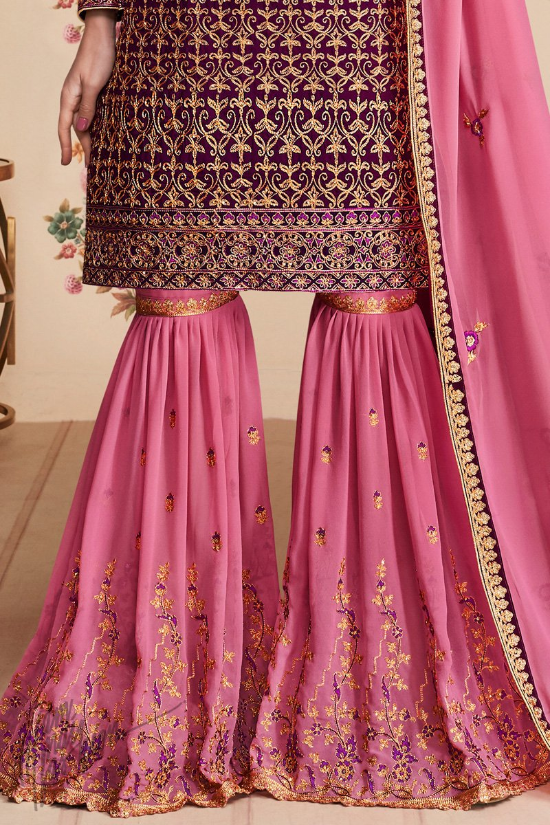 Wine and Pink Georgette Party Wear Sharara Suit