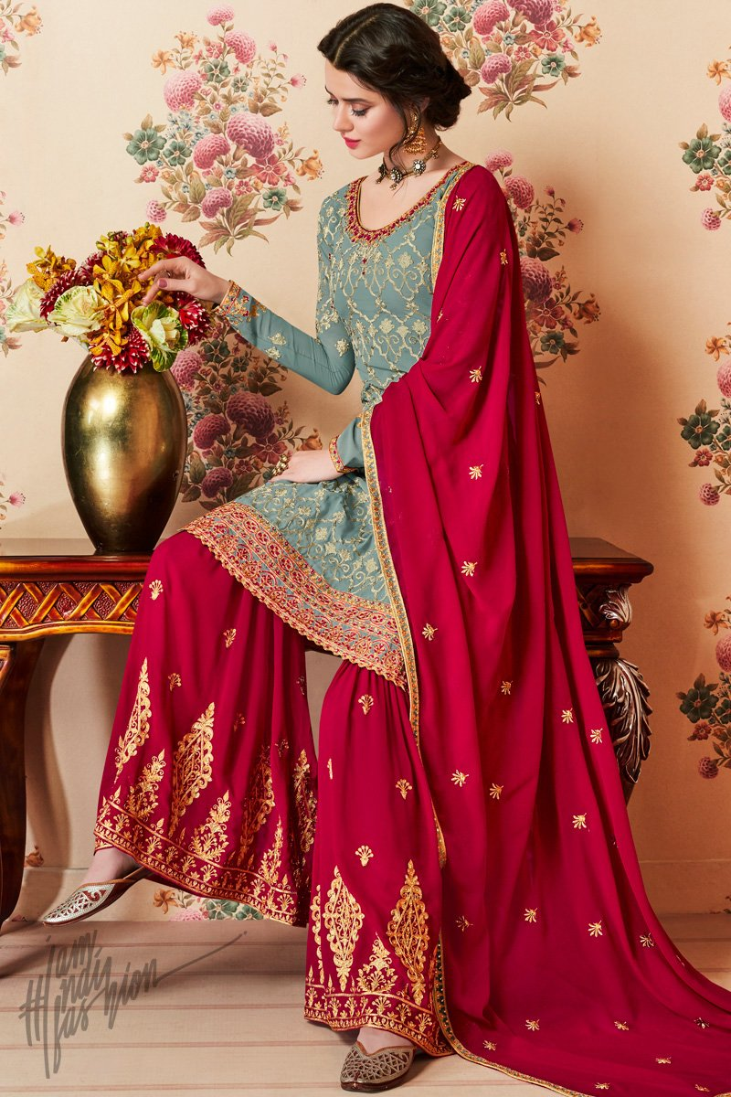 Slate Gray and Red Georgette Party Wear Sharara Suit