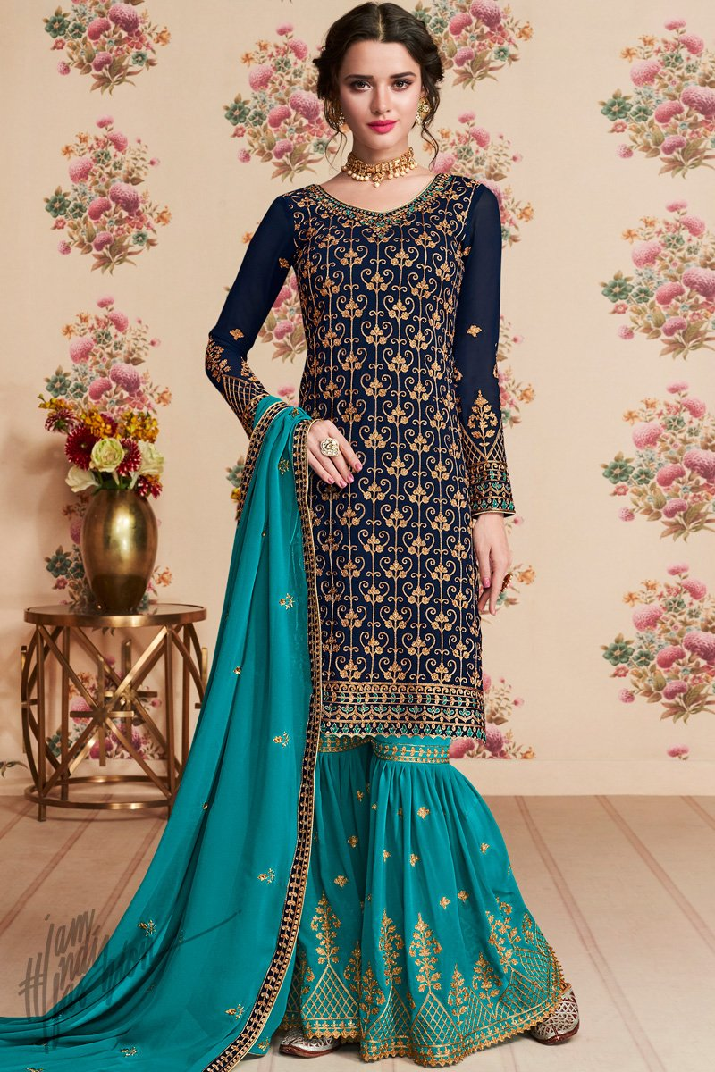 Navy and Royal Blue Georgette Party Wear Sharara Suit