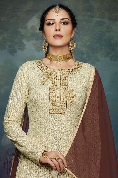 Cream and Brown Georgette Palazzo Suit