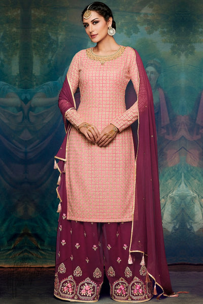 Baby Pink and Jam Purple Georgette Palazzo Suit