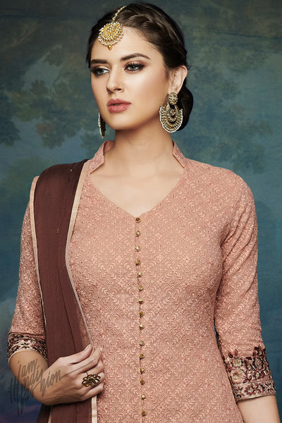 Peach and Brown Georgette Palazzo Suit
