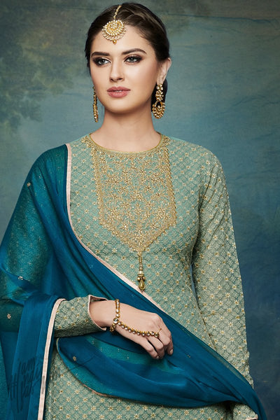 Pista Green and Peacock Blue Georgette Palazzo Suit