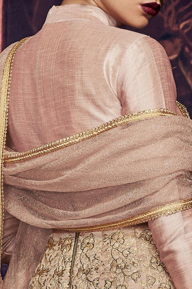 Indi Fashion Blush Pink Handloom Silk Embroidered Kalidaar Suit With Golden Brooch