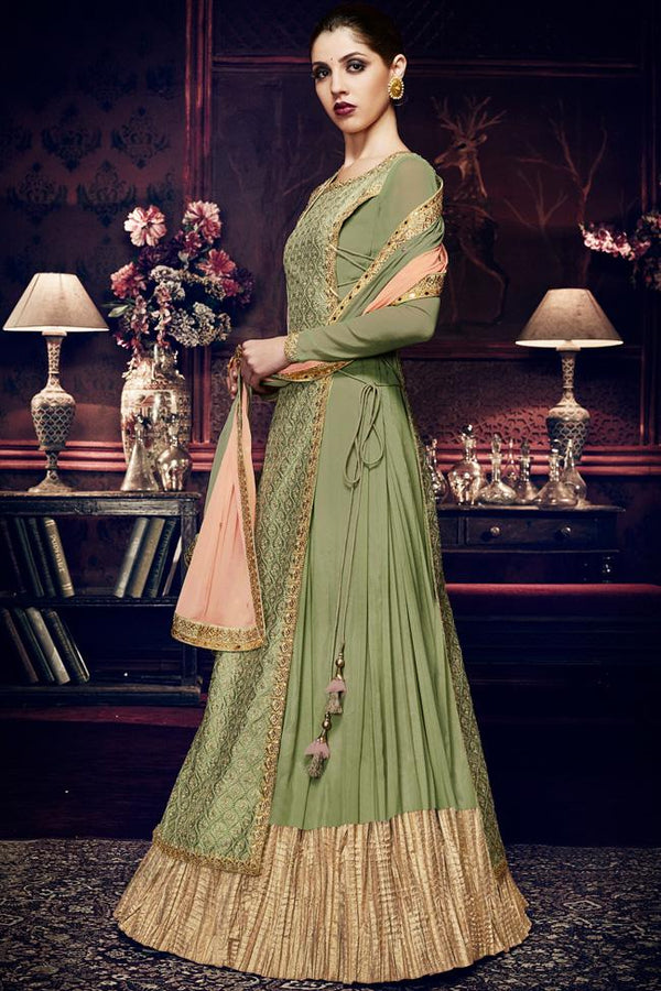 Indi Fashion Pistachio Green Georgette Anarkali Dress With Zari Embroidered Panel