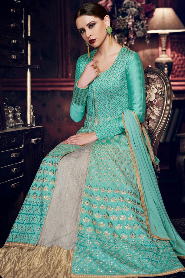Indi Fashion Turquoise Blue Handloom Silk Long Jacket Style Layered Anarkali Suit With Front Slit