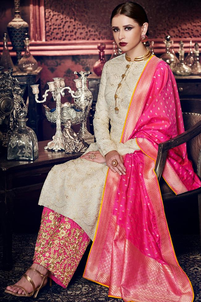 Indi Fashion Ivory Tussar Silk Suit With Magenta Embroidered Palazzo Pants