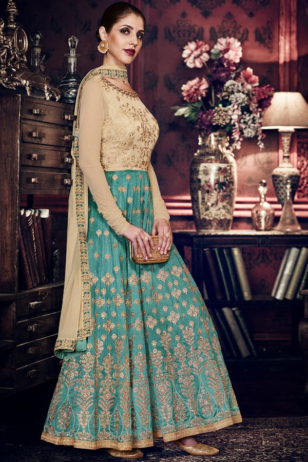Indi Fashion Beige and Turquoise Blue Handloom Silk Embroidered Floor Length Anarkali Suit