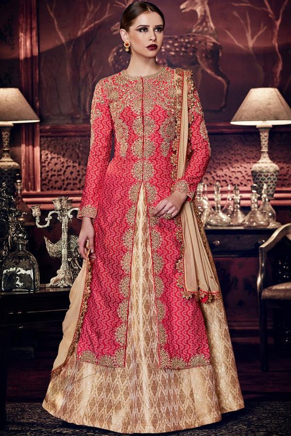 Indi Fashion Red Tussar Silk Zari Embroidered Long Jacket Style Lehenga With Gold Brocade Skirt