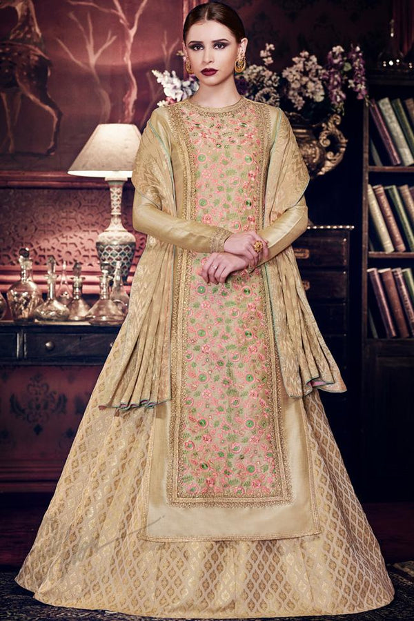 Indi Fashion Golden Handloom Silk Multicolored Embroidered Tunic Style Lehenga With Golden Banarsi Dupatta