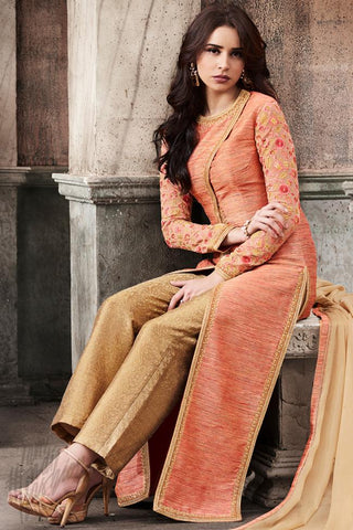 Indi Fashion Peach and Beige Silk Long jacket Style Party Wear Suit