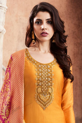 Indi Fashion Orange and Pink Silk Straight party Wear Suit
