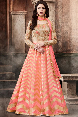 Indi Fashion Beige and Peach Silk and Brocade Floor Length Party Wear Suit