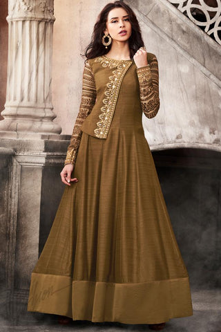Indi Fashion Brown and Mustard Satin Party Wear Suit