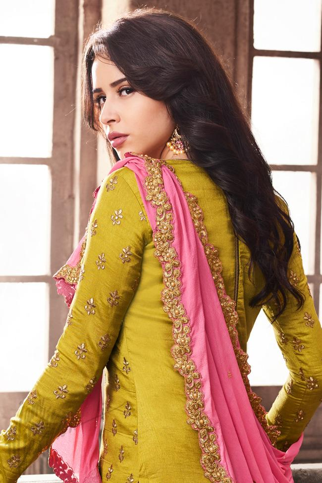 Indi Fashion Olive Green and Pink Silk Party Wear Lehenga Style Suit