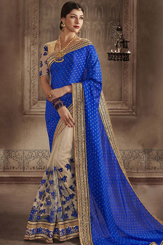 Indi Fashion Blue and Cream Chiffon Half and Half Party Wear Saree