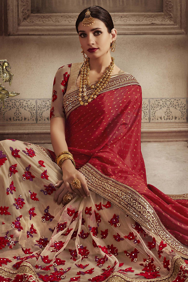 Indi Fashion Red and Cream Chiffon Half and Half Party Wear Saree
