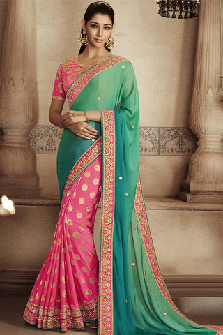 Indi Fashion Green and Pink Satin Georgette Half and Half Party Wear Saree