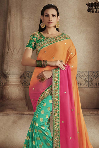 Indi Fashion Green and Orange Pink Ombre Satin Georgette Half and Half Party Wear Saree
