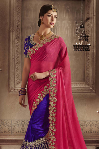 Indi Fashion Pink and Purple Silk Half and Half Party Wear Saree