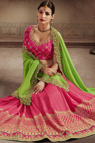 Indi Fashion Green and Pink Silk Half and Half Party Wear Saree