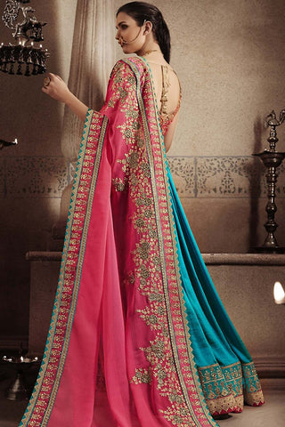 Indi Fashion Pink and Blue Art Silk Half and Half Party Wear Saree