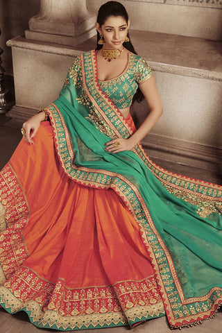 Indi Fashion Green and Rust Art Silk Half and Half Party Wear Saree