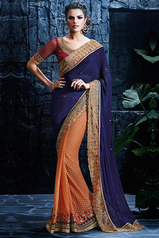 Indi Fashion Light Orange Royal Blue and Maroon Net Party Wear Saree