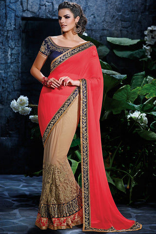 Indi Fashion Beige Pink and Navy Blue Net Party Wear Saree