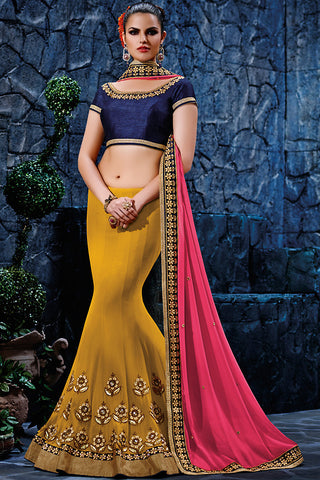 Indi Fashion Mustard Yellow Pink and Navy Blue Georgette Party Wear Saree