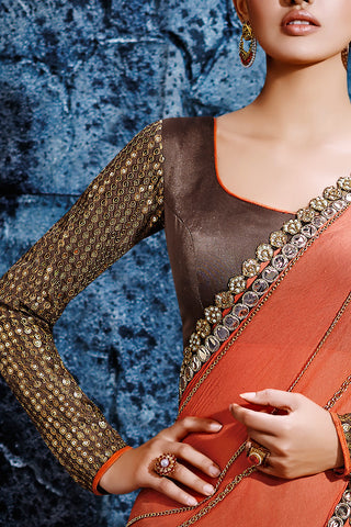 Indi Fashion Pink and Dark Brown Net Party Wear Saree
