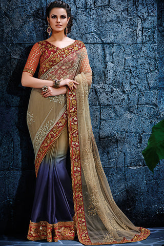Indi Fashion Shaded Beige Blue and Maroon Jacquard Party Wear Saree