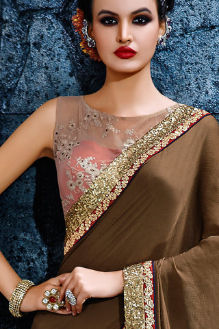 Indi Fashion Metallic Beige and Pink Net Party Wear Saree