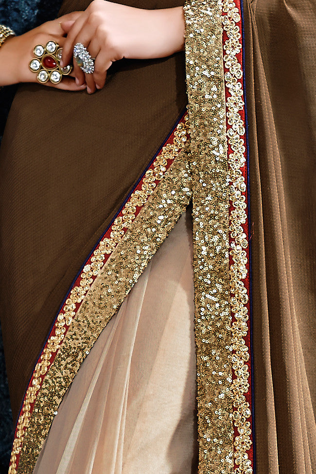 Buy Metallic Beige and Pink Net Party Wear Saree Online at indi.fashion
