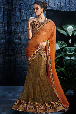Indi Fashion Metallic Beige and Orange and Maroon Net Party Wear Saree