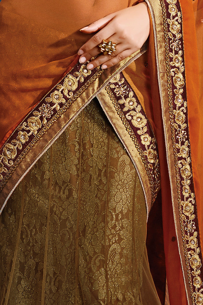 Metallic Beige and Orange and Maroon Net Party Wear Saree