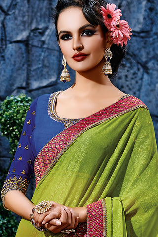 Indi Fashion Pinkish Red Parrot Green and Royal Blue Net Party Wear Saree