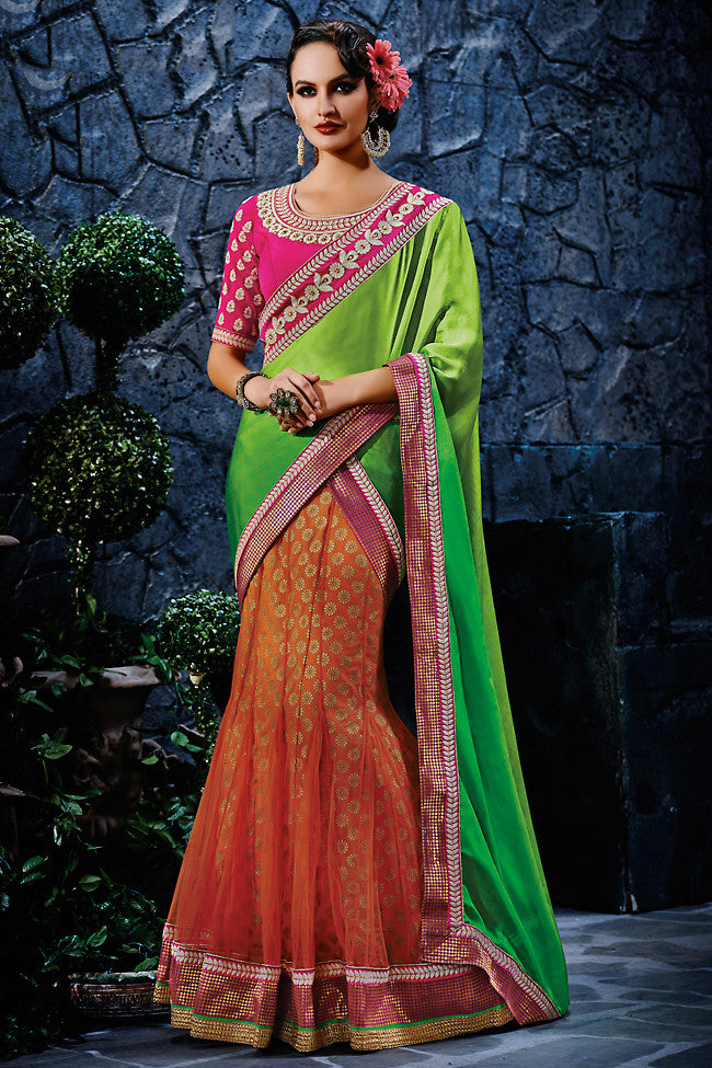 Buy Orange Pink and Green Foil Print Party Wear Saree Online at indi.fashion