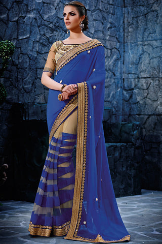 Indi Fashion Royal Blue and Beige Georgette Party Wear Saree