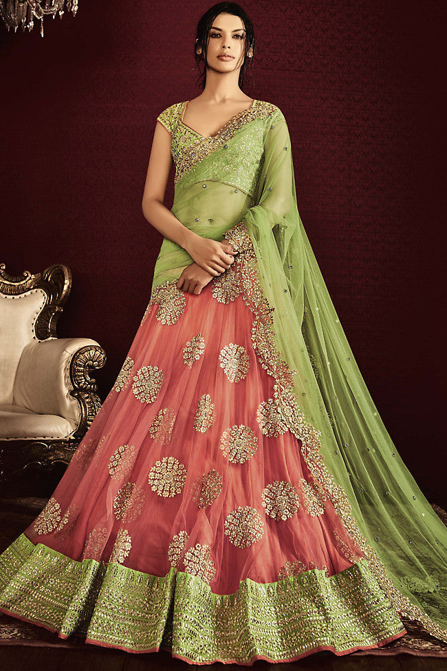 Indi Fashion Light Green and Peach Net and Silk Wedding Lehenga