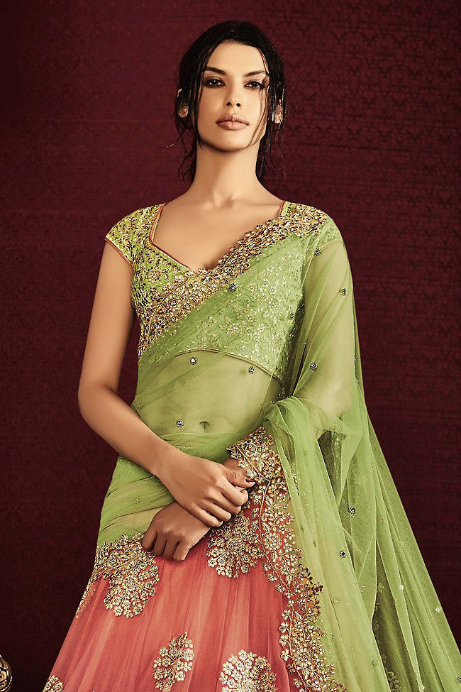 Light Green and Peach Net and Silk Wedding Lehenga