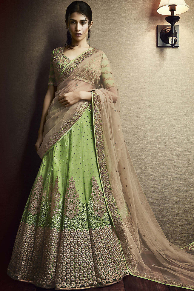 Buy Pista Green and Beige Net and Silk Wedding Lehenga Online at indi.fashion
