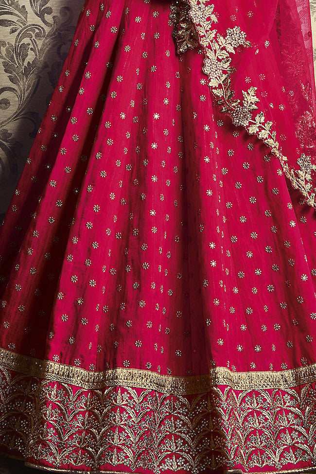 Rani Pink Silk and Net Wedding Lehenga