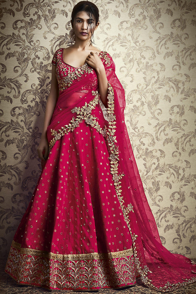 Indi Fashion Rani Pink Silk and Net Wedding Lehenga